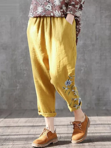 Arts Style Spring Women Elastic Waist Vintage Embroidery Casual Pants