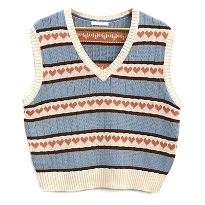 Loose sleeveless sweater spring autumn knitting vest joker Pullover