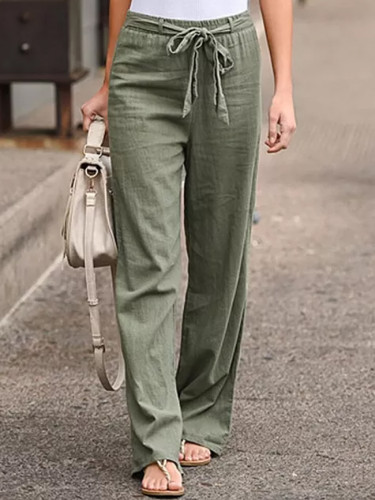 Women Linen Cotton Solid  Green  Summer Female Casual Pants