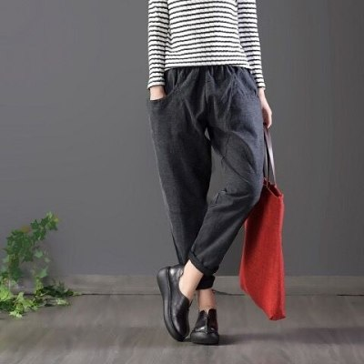 Spring Autumn Women Elastic Waist Solid Cotton Loose Casual Pants
