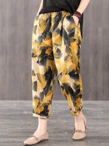 New Arrival Summer Women Pants Plus Size Elastic Waist Loose Casual Thin Cotton Linen Pants Vintage Print Harem Pants 4XL D152