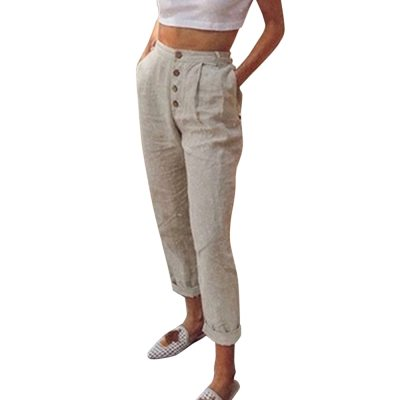 Women Spring Casual Button High Waist Trousers Women Long Pants
