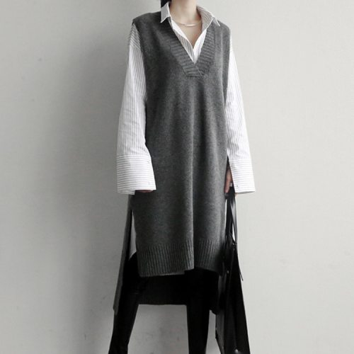 Spring Autumn Women Vest Sweaters Knitting long Vests Joker Wool Pullover