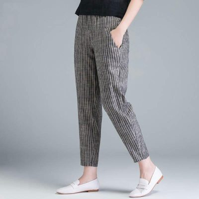 Summer Women Fashion High Waist Thin Casual  Pants