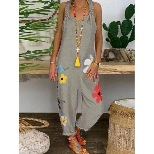 Women Loose Casual Lace Up Strappy Flower Print Linen Cotton Jumpsuit