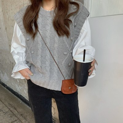 Knitwear Sweater Vest Solid Shirt Loose Casual Knitted Pullovers