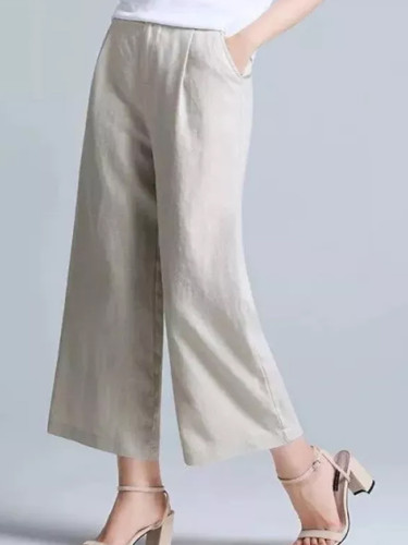 Women Elastic Waist Casual Wide Leg Solid Cotton Linen Pants