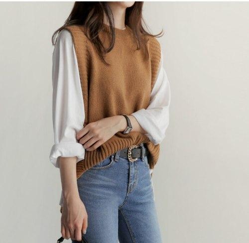 Women's vest knitted vest O neck joker knitted vest winter outerwear