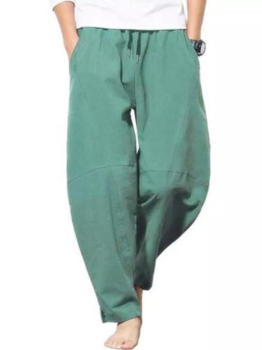 Summer Men Cotton Loose Straight Men Fashion Solids Pants