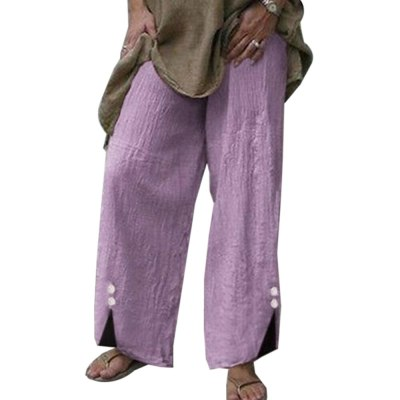 Autumn Vintage Botton Pantalon Femme Casual Work Pants