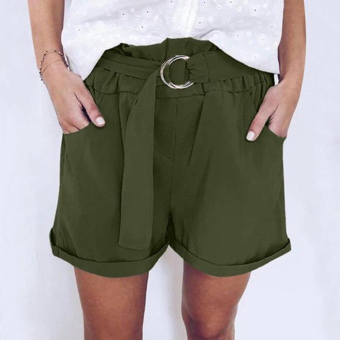 Women's Summer Casual Cotton Linen Mid Waist Fashion Short Pants
