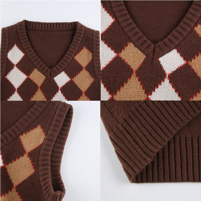 Brown Vintage Y2K Cropped Sweater Vest Autumn Sleeveless Knit Pullover 90s