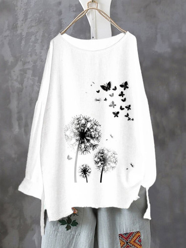 Vintage Casual Blouse Women O Neck Long Sleeve Cotton and linen Autumn Printing Shirts