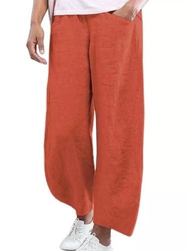 Women Solid Color Cotton Flax Elastic Beach Leisure Pants