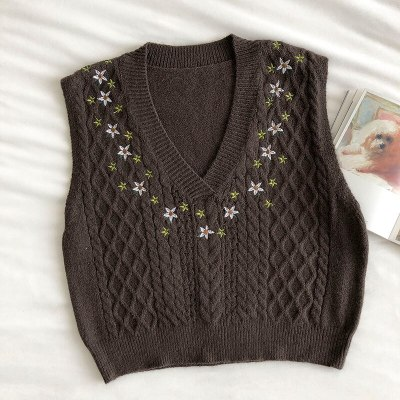 Sweater Vest Retro Girl Floral Embroidery Loose V-neck Knitted Vests
