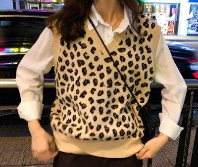 New leopard vest knitted female Vintage Vest Wool Sweater Vests