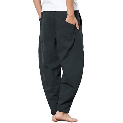 Summer Men Cotton Loose Straight Men Fashion Solids Pants