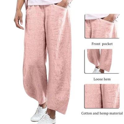 Women Solid Color Cotton Flax Elastic Beach Leisure Pants