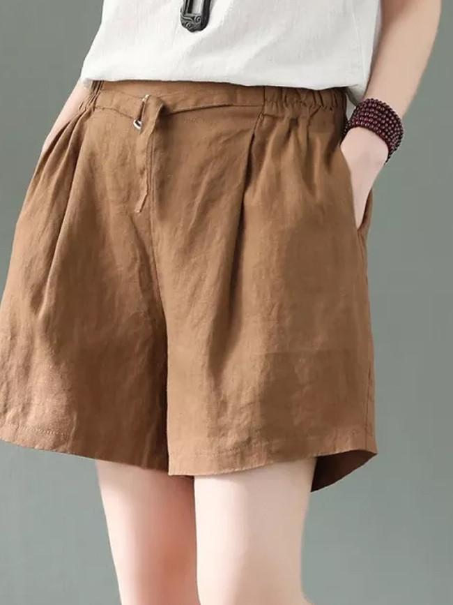 Summer Casual Cotton Linen Short Femme Vintage Mini Shorts