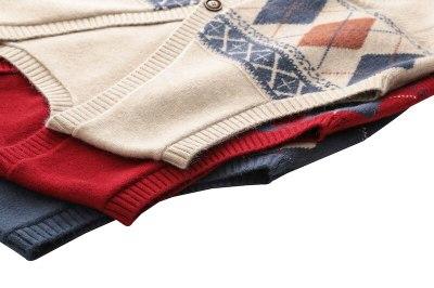 Retro Contrast Diamond Knitted Cardigan Women's Spring Sleeveless Joker Vest