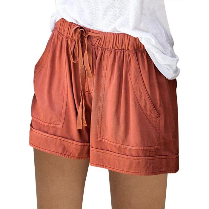 Women's Casual Elastic Waist Cotton Linen Shorts Pink Pocket Short Pants