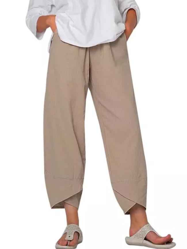 Women's Summer Casual Elastic Waist Vintage Cotton Cropped Pants