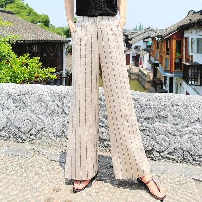 Summer Women High Waist Striped Wide Leg Casual Cotton Linen Loose Pants