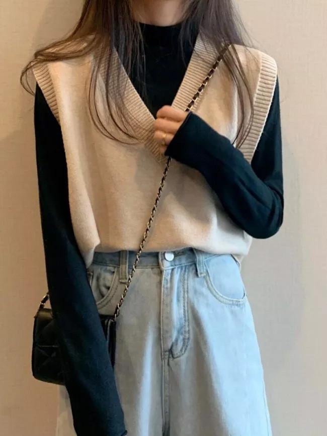 Spring New Women Vest Casual V-neck Knitted Vests