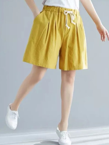 Summer New Fashion Women Elastic Waist Loose Casual Shorts