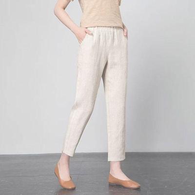 Spring Summer Women Elastic Waist Loose Casual Cotton Linen Pants