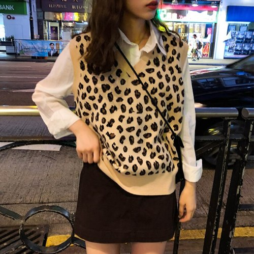 New leopard vest knitted female Vintage Vest Wool Sweater Vests