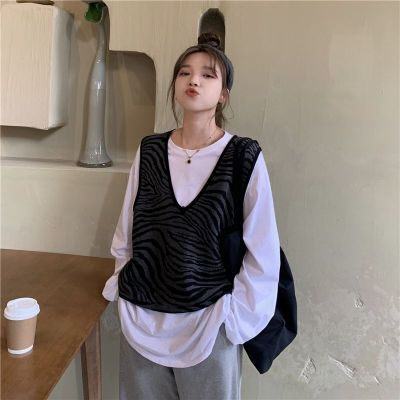 Knitted Sweater Vest Vintage Zebra Striped V Neck Sleeveless Pullover Tank Tops