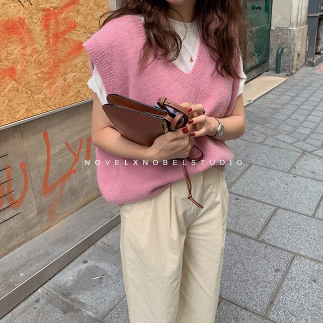 New V neck Pullover vest sweater Autumn Winter Pink Knitted Sweaters vest