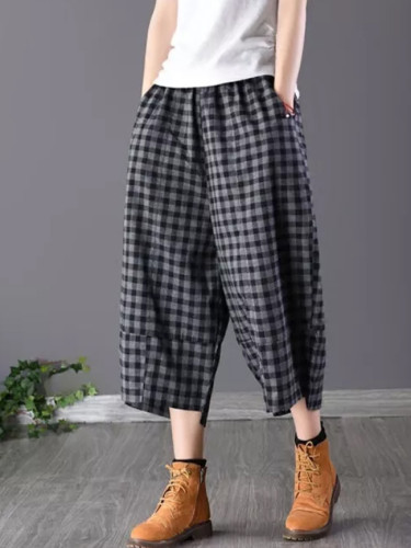 Summer Women Calf-length Loose Pants Cotton Linen Plaid Casual Pants