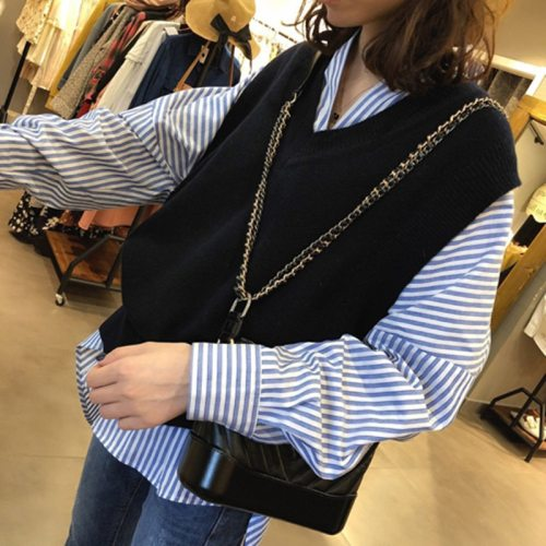 V neck Pullover vest sweater Autumn Winter short Knitted Sweaters vest Sleeveless Warm