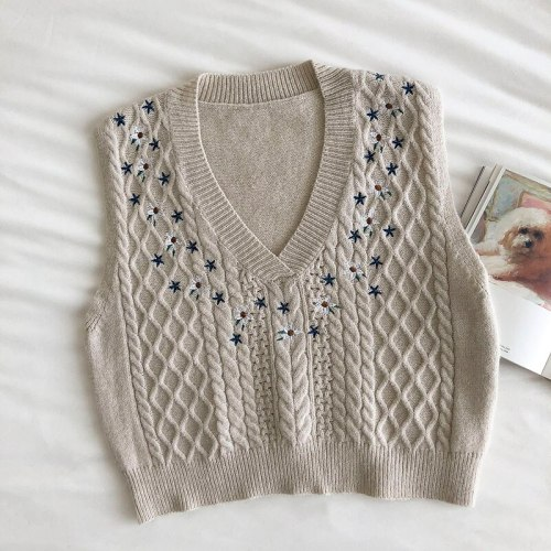Sweater Vest Retro Girl Floral Embroidery Loose V-neck Knitted Vests