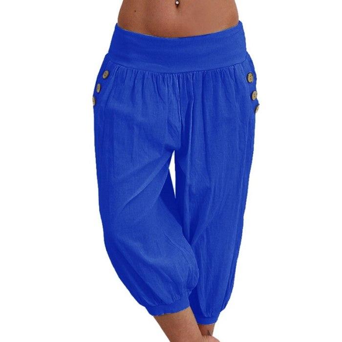 Women's Cotton Linen Short Trouser Solid Color Seven Casual Loose  Pants