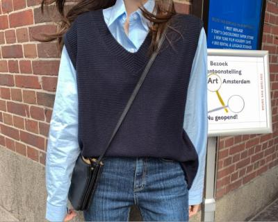 V neck joker knitted vest womens vests winter outerwear