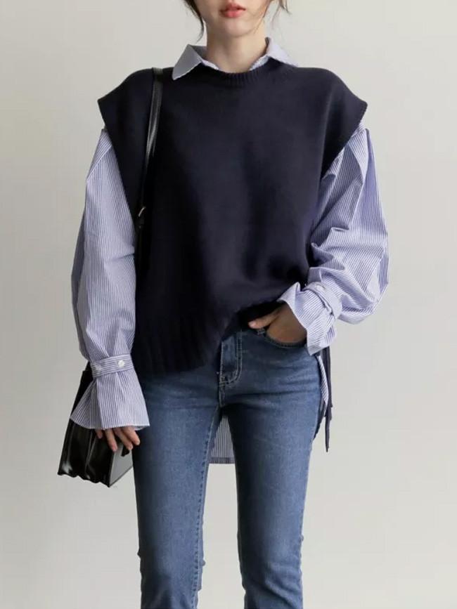 New loose sleeveless sweater spring autumn sweaters joker knitted vest