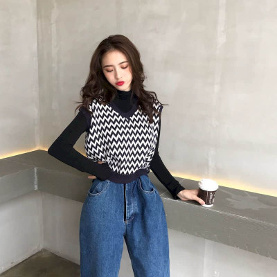 Women's Knit sweater vest loose vest knit sweater sleeveless vest