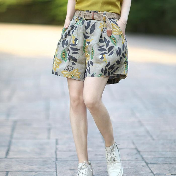 Women Print Shorts Loose Casual Cotton Linen Plus Size Summer Shorts