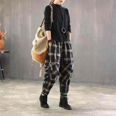 Spring Summer Arts Style Women Elastic Waist Vintage Cotton Linen Plaid Pants