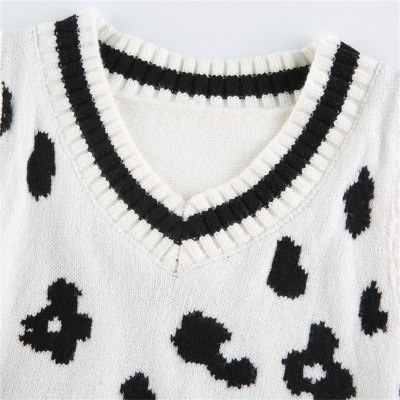 Womens Classic Sweater Vest Cow Print Sleeveless V Neck Knit Top