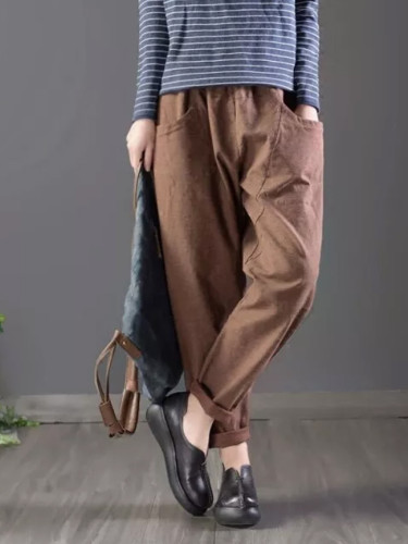 Spring Autumn Women Elastic Waist Solid Cotton Loose Casual Pants