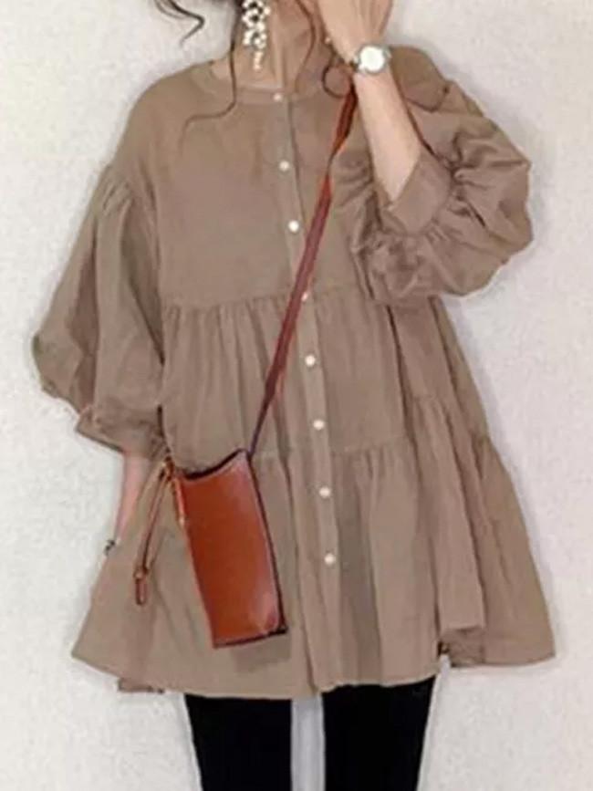 Fall Women Blouse Button Up A Line Puff Sleeve Tops Ruffle Long Shirt