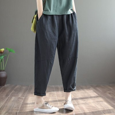 2020 Summern Elastic Waist Loose Ankle-length Pants Casual Cotton Pants