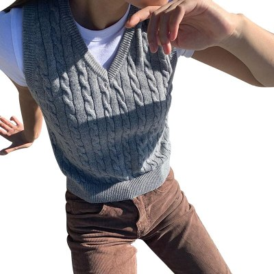 V Neck Vintage Sweater Vest Women Casual Autumn Preppy Style