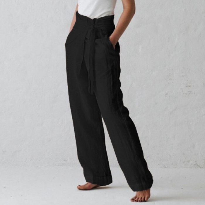 Women High Spring  Band Loose Palazzo Trousers Black Gray Pants