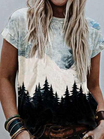Summer O Neck Vintage Print Blouse Shirts Casual Loose Short Sleeve Pullover Tops
