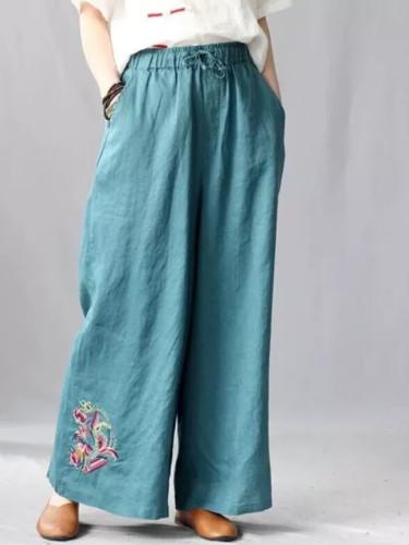 Summer Women Elastic Waist Casual Vintage Embroidery Cotton Linen Wide Leg Pants